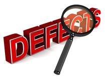 Defect finding. Finding defects with a lens looking down on word defects, concept of debugging and six sigma Royalty Free Stock Photography