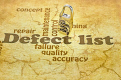 Defect List. Magnifying glass on the artistic background with the words Defect List Royalty Free Stock Images