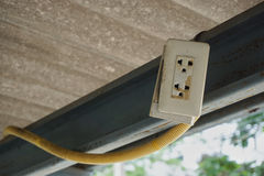 Defective electrical socket on the roof. Royalty Free Stock Images