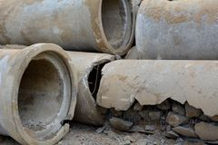 Defective sewer pipes Stock Image