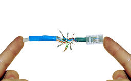 Defective (soldered) internet wire Stock Images