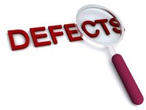 Defects. Magnifying glass over the word Defects on white background Stock Image