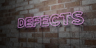 DEFECTS - Glowing Neon Sign on stonework wall - 3D rendered royalty free stock illustration Royalty Free Stock Images