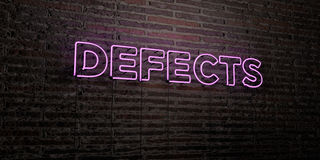 DEFECTS -Realistic Neon Sign on Brick Wall background - 3D rendered royalty free stock image Stock Images