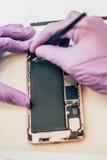 Defekt mobiltelefon för teknikerreparation i elektronisk smartphone t Fotografering för Bildbyråer