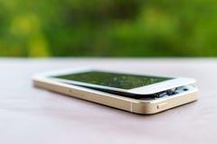 Defekt smartphone Arkivbilder
