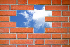 Defekte Backsteinmauer Stockbilder