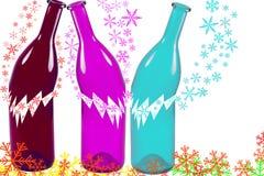 Defekte Flaschen mit der Schneeflocke lokalisiert auf weißem Hintergrund Lizenzfreies Stockbild