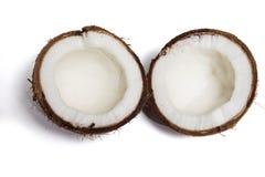 Defekte Kokosnuss lokalisiert stockbilder