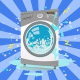 Defekte Waschmaschine in der Karikaturart Blasen, Funken Stockfotos