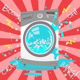 Defekte Waschmaschine in der Karikaturart Blasen, Funken Stockbilder