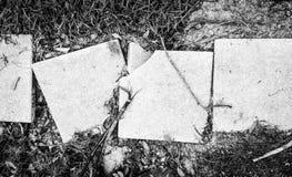 Defekte Zementbürgersteigsplatten auf einem Weg stockbild