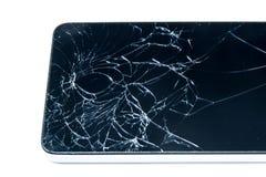 Defekter Bildschirm von Smartphone auf weißem Hintergrund Lizenzfreie Stockfotos