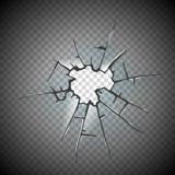 Defekter Glasfensterrahmenvektor Fensterglas gebrochen auf kariertem Hintergrund, Illustrationsschadenglas mit lizenzfreie abbildung