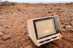 Defekter Gray Television Abandoned Stockfoto