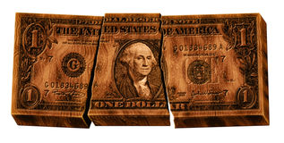 Defekter hölzerner Dollar Stockfotografie