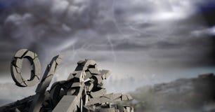 Defekter konkreter Stein mit Prozentsymbol im Stadtbild Stockfotos