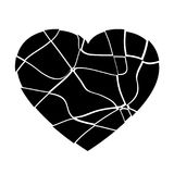 Defekter schwarzer Herzvektor Stockfoto