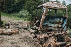 Defekter Traktor in einem wilden Wald Stockfoto