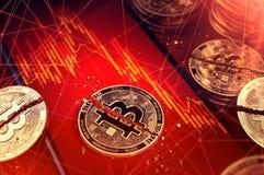 Defektes bitcoin spaltete sich in zwei Stücken auf, die auf einen Smartphoneschirm mit Börsediagramm in der roten Farbe legen Sch vektor abbildung