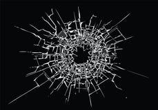 Defektes Glas, Sprünge, Kugelkennzeichen auf Glas Hohe Auflösung lizenzfreie abbildung