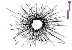 Defektes Glas, Spr?nge, Kugelkennzeichen auf Glas Hohe Aufl?sung stock abbildung