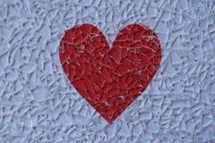 Defektes Glas und Herz Stockbild
