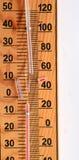 Defektes Glasrohr eines Thermometers Stockfotos