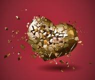 Defektes goldenes polygonales Herz auf rotem BG Lizenzfreie Stockfotos