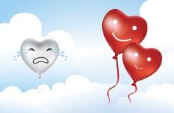 Defektes Herz des Herz-Ballons Stockfotografie