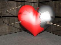 Defektes Herz - Pfeile verfehlt Lizenzfreie Stockfotos
