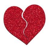 Defektes Herz, rotes glittery Weißer Hintergrund stockfotos