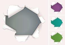 Defektes Loch im Papier mit Platz für die Werbung Lizenzfreies Stockfoto