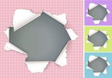 Defektes Loch in Papier farbigen Hintergründen Stockbilder