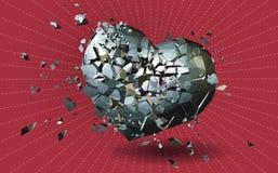 Defektes Metallpolygonales Herz auf rotem BG Stockbild
