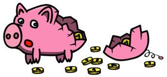 Defektes rosa piggybank in der Karikaturart gefüllt mit den goldenen Münzen, erschrocken, fehlendes Stück betrachtend Lizenzfreies Stockfoto