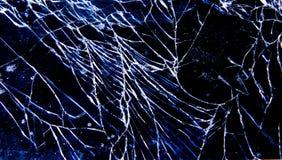 Defektes zerbrechliches Glastelefon stockfotografie