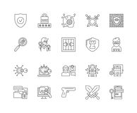 Defence kreskowe ikony, znaki, wektoru set, kontur ilustracji poj?cie royalty ilustracja
