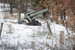 Defence line artillery in winter Stock Photo