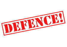 DEFENCE!. Red Rubber Stamp over a white background Stock Image