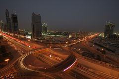The Defence Roundabout Dubai at Night. This was known as the Defence roundabout, junction two, Sheikh Zayed road from Dubai to Abu Dhabi Royalty Free Stock Images