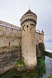 Defence Tower of Chillon Castle on Lake Geneva in Switzerland Stock Images
