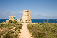 Defence tower, Malta. A defence tower next to the Ghajn Tuffieha Bay in Malta Royalty Free Stock Image