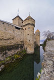Defence Towers of Chillon Castle on Lake Geneva in Switzerland Stock Photography