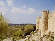 Defence wall of Avila city Stock Photos