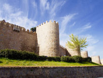 Defence wall of Avila city Stock Image