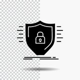 Defence, zapora, ochrona, bezpieczeństwo, osłona glifu ikona na Przejrzystym tle Czarna ikona ilustracja wektor