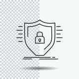 Defence, zapora, ochrona, bezpieczeństwo, osłony Kreskowa ikona na Przejrzystym tle Czarna ikona wektoru ilustracja ilustracji