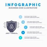 Defence, zapora, ochrona, bezpiecze?stwo, os?ony Infographics szablon dla strony internetowej i prezentacja, glif Szara ikona z b royalty ilustracja