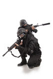 Defend. Shot of a soldier holding gun. Uniform conforms to special services(soldiers) of the NATO countries Royalty Free Stock Photography